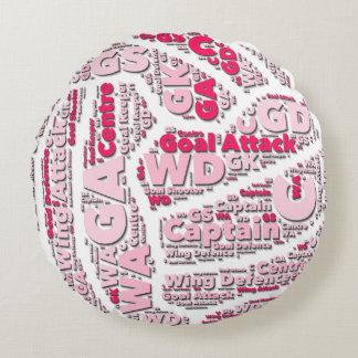 Diseño de la bola de las posiciones del Netball Cojín Redondo