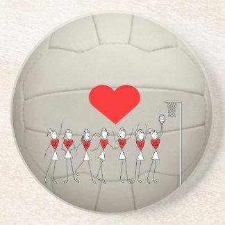 Diseño de la bola del Netball del corazón Portavasos