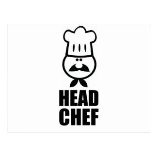 Diseño de la cara del chef y del negro del gorra postales