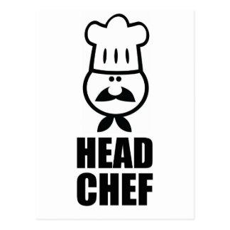 Diseño de la cara del chef y del negro del gorra postal
