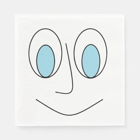 Diseño de la cara del hombre sonriente observado servilletas desechables