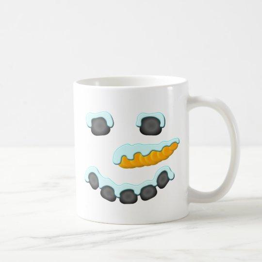 Diseño de la cara del muñeco de nieve taza de café