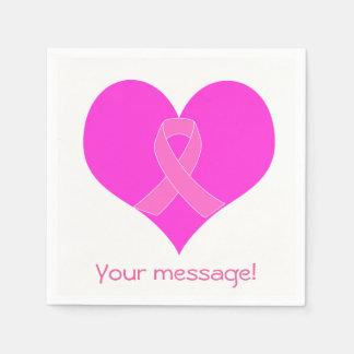 Diseño de la caridad del cáncer del corazón y de servilletas desechables