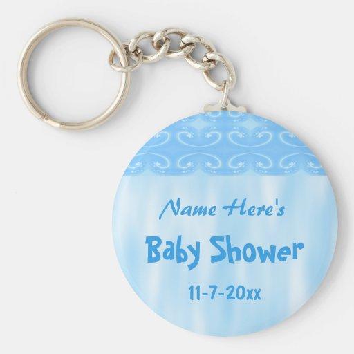 Diseño de la fiesta de bienvenida al bebé en azul llavero