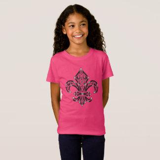 Diseño de la flor de lis en niño/la camiseta de la