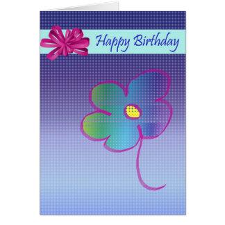 Diseño de la flor y del arco del feliz cumpleaños tarjeta de felicitación