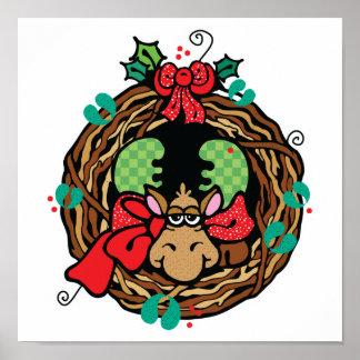 diseño de la guirnalda de los alces del navidad posters