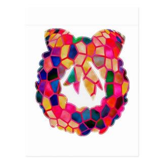 Diseño de la guirnalda del modelo del vitral postal