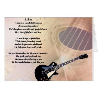 Diseño de la guitarra - poema del hijo tarjeta de felicitación