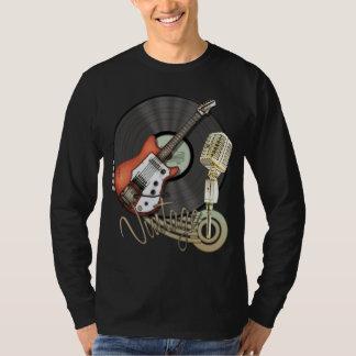 Diseño de la guitarra y del micrófono del vintage camiseta