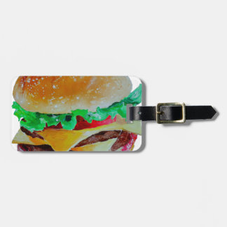 diseño de la hamburguesa, pintura original etiqueta para maletas