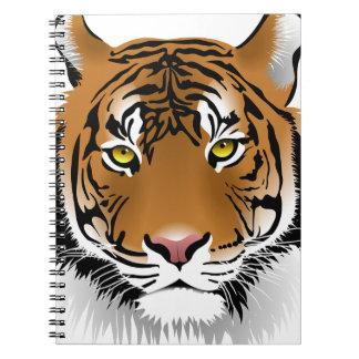 Diseño de la impresión de la cabeza del tigre cuaderno