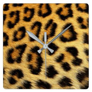 Diseño de la impresión del modelo del leopardo reloj cuadrado