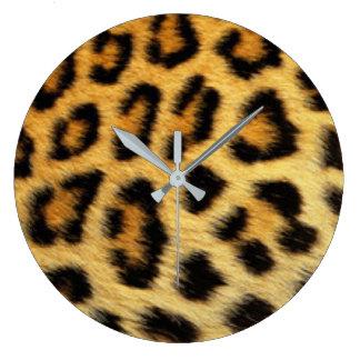 Diseño de la impresión del modelo del leopardo reloj redondo grande