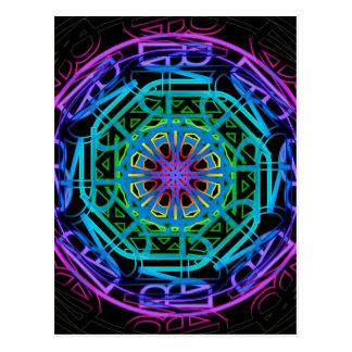 Diseño de la mandala de las luces de neón postal