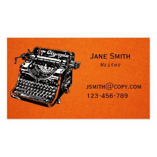 Diseño de la máquina de escribir del escritor free tarjetas de visita