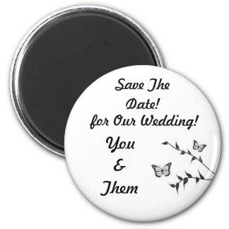 ¡Diseño de la mariposa, casando reserva la fecha! Imán Redondo 5 Cm