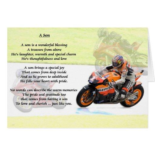 Diseño de la moto - poema del hijo felicitacion