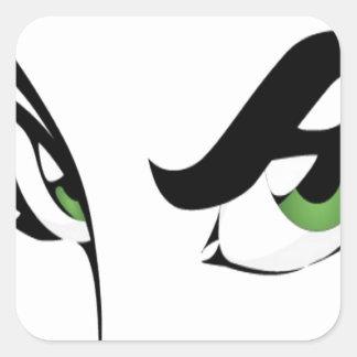 Diseño de la mujer de los ojos verdes calcomania cuadradas