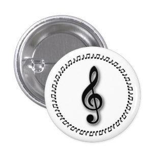 Diseño de la nota de la música del Clef agudo Chapa Redonda De 2,5 Cm