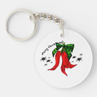diseño de la pimienta roja de las Felices Navidad  Llavero Redondo Acrílico A Doble Cara