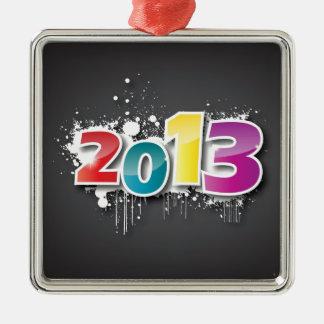 Diseño de la pintada 2013 adorno navideño cuadrado de metal