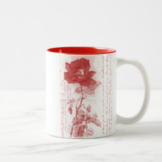 Diseño de la postal del rosa rojo taza dos tonos