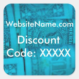 Diseño de la promoción del Web site con la opción Pegatina Cuadrada