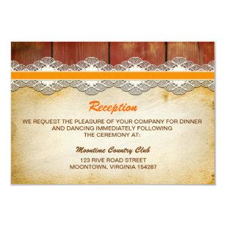 diseño de la recepción nupcial de madera y del invitación 8,9 x 12,7 cm