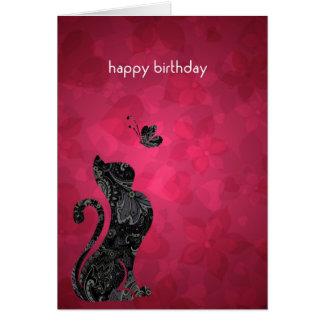 Diseño de la tarjeta de felicitación del gato y de