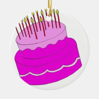 Diseño de la torta de cumpleaños ornaments para arbol de navidad