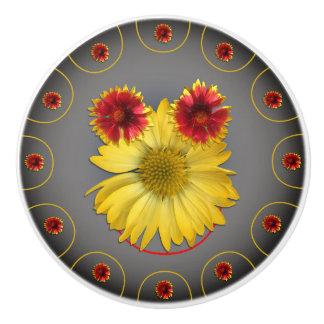 Diseño de las margaritas de las fotos del tirón de pomo de cerámica