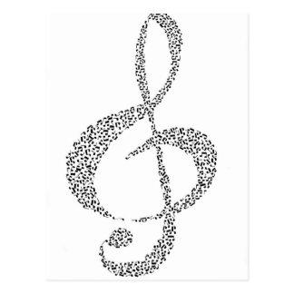 Diseño de las notas musicales postal