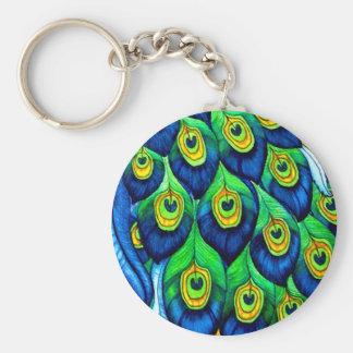 Diseño de las plumas del pavo real llavero