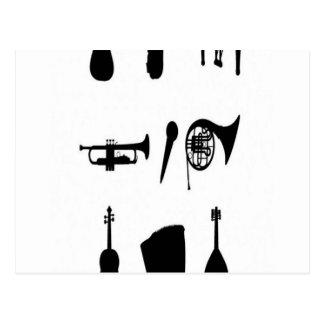 Diseño de las siluetas de los instrumentos musical postales