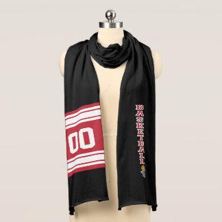 Diseño de letra rojo oscuro del baloncesto bufanda