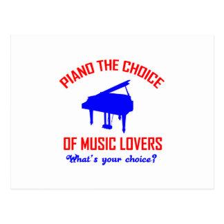 Diseño de los amantes del piano postal