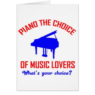 Diseño de los amantes del piano tarjeta de felicitación