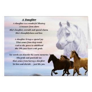 Diseño de los caballos - poema de la hija tarjeta de felicitación
