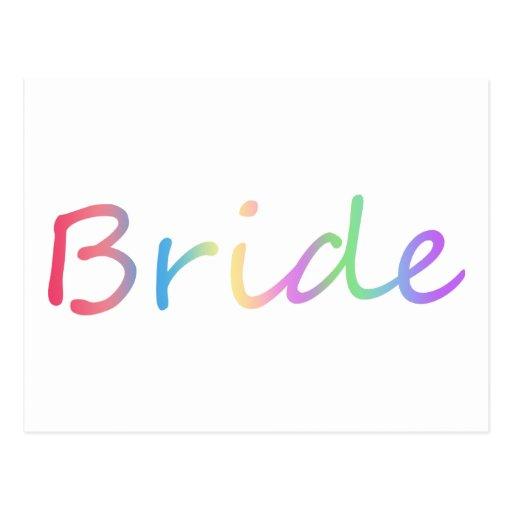 ¡Diseño de los colores del arco iris de la novia! Tarjetas Postales