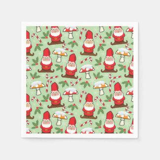 Diseño de los gnomos de Santa del navidad Servilletas De Papel