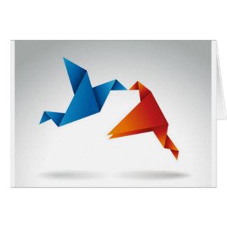 Diseño de los pájaros de Origami Tarjeta De Felicitación