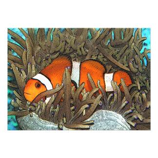 Diseño de los pescados del payaso comunicados personalizados