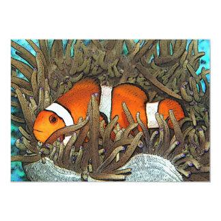 Diseño de los pescados del payaso invitación 12,7 x 17,8 cm