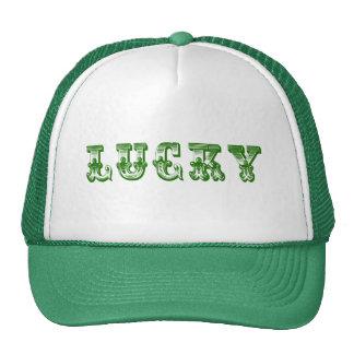 Diseño de lujo retro Afortunado-Verde 3 del texto Gorras De Camionero