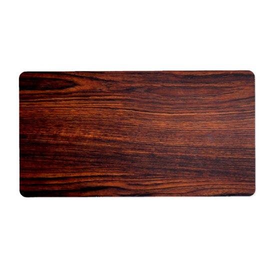 diseño de madera etiqueta de envío