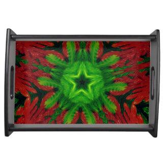 Diseño de moda verde rojo del navidad del bandejas