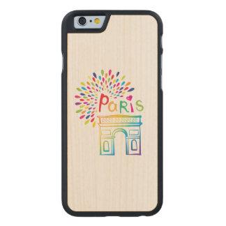 Diseño de neón de París Francia el | Arco del Funda Fina De Arce Para iPhone 6 De Carved