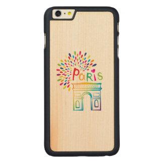Diseño de neón de París Francia el | Arco del Funda Fina De Arce Para iPhone 6 Plus De Carved
