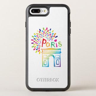 Diseño de neón de París Francia el | Arco del Funda OtterBox Symmetry Para iPhone 8 Plus/7 Plus